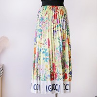 GUCCI  Fashion New Letter More Floral Print Leisure Skirt Women Yellow