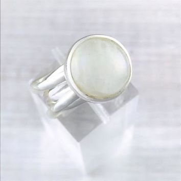 Adjustable Sterling Silver Spiral Band Moonstone Ring