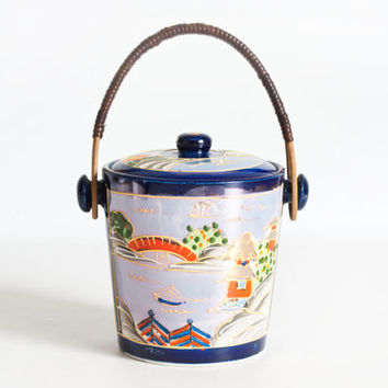 Vintage Japanese Lusterware Biscuit Jar, Hand Painted Container Candy Dish Trinket Box, Wicker Handle