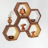 Honeycomb Shelves - Set of 5 Custom Finished Hexagon Shelves / Shelf