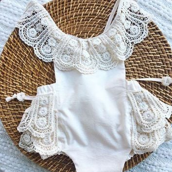 2018 Summer New Onesuits Baby Romper Multilayer Lace Kids  Romper Children Clothes