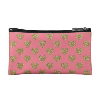 Gold Glitter Hearts on Pink Background Cosmetic Bag