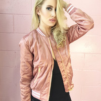Sweet Talker Satin Quilted Bomber Jacket