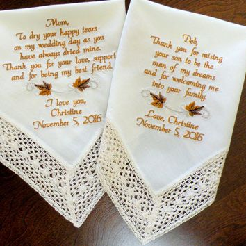 Ivory Wedding Fall Leaves Personalized Wedding Gift Embroidered Wedding Hankerchief Set of Two Mother of the Bride & Groom Canyon Embroidery