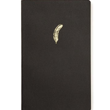 FOREVER 21 Feather Notebook Black/Gold One