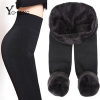 YGFENG Winter Cashmere Pants Women High Waist Elastic Solid Warm Pants Casual Thick Slim High-Quality Knitted Pants 8 Colors