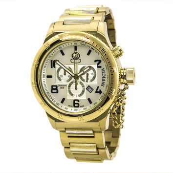 Invicta 15473 Men's Russian Diver Champagne Dial Gold Plated Steel Bracelet Chronograph Dive Watch