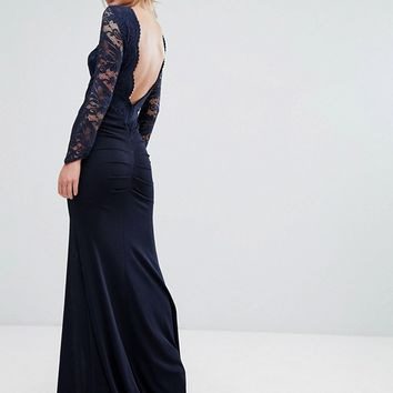 TFNC Lace Fishtail Maxi Dress With Low Scallop Back at asos.com