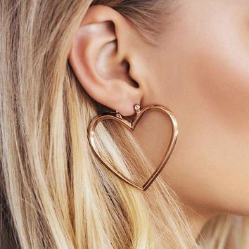 ESBON6V Exaggerated temperament hollow size love two-piece earrings can be split