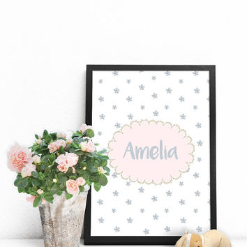 Baby name art nursery, Personalized name signs, Name poster PRINTABLE,  Personalized gifts for baby girl, Personalized newborn baby gifts