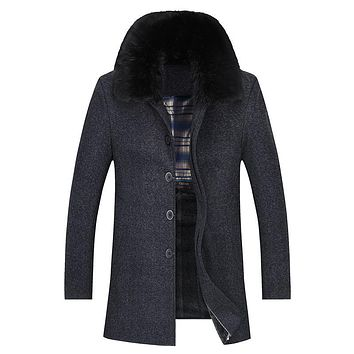 Long Thick Warm Fur Collar Winter Coat Men