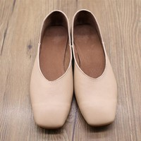 Handmade Soft Leather Square Toe Low Heels Pumps Leather Slip Ons Brown/Apricot