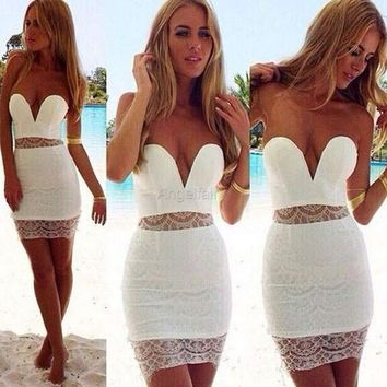 Stylish Lady Women's Fashion Sexy Strapless Backless Off-shoulder Mini Bodycon White Dress [7956320583]