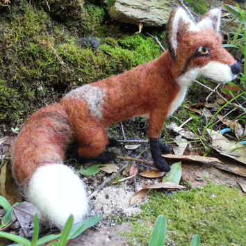 Needle Felted Fox, Poseable Soft Sculpture of Red Fox