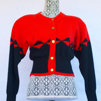 Vintage 1980's CHANEL Red and Black Cropped Cashmere Cardigan. Made in Scotland. Small.