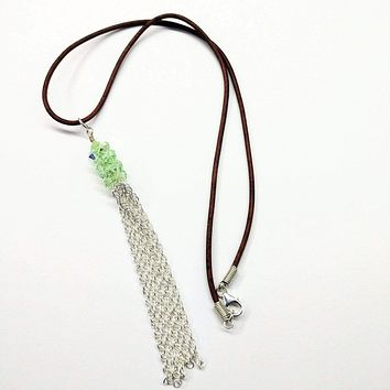 Green Crystal Barrel Silver Chain Tassel Leather Necklace