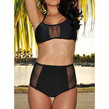 Posh Girl Amber Black  High Waist Two Piece Swimwear