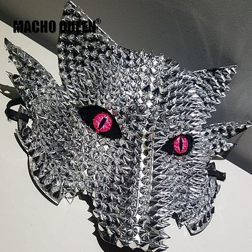 Spikey Bad Wolf Face Mask (Silver/Gold)