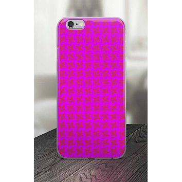 65 MCMLXV Pink Geometric Houndstooth Print iPhone Case