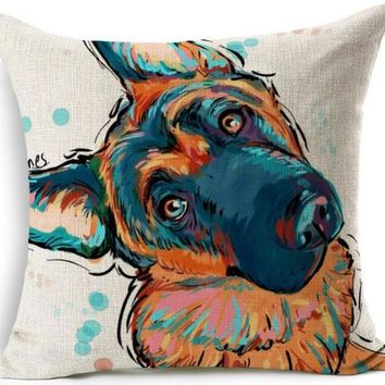 Cute German Shepherd Pillow Case