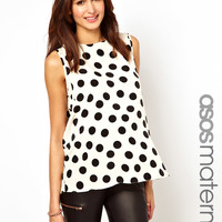 ASOS Maternity Blouse in Large Spot with Drape Bow Back