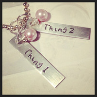 Thing 1 & Thing 2 necklace, can be personalized- great twins gift