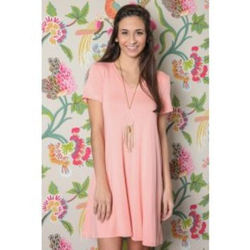 EVERLY: Simple As That V-Neck T-Shirt Dress-Blush