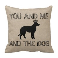 You and me and the dog funny linen burlap