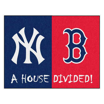 Yankees - Red Sox  MLB House Divided NFL All-Star Floor Mat (34x45)
