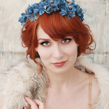 Muse  navy blue flower crown by gardensofwhimsy on Etsy