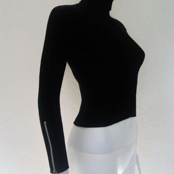 O RING zip BlackRibbed long sleeve Turtleneck Shirt  / upcycled w/ o ring zipper Cuffs