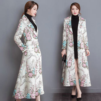 Autumn Retro Chinese style Women Single Breasted Windbreaker Slim Fit Long Sleeve Embroidered Floral Print Ladies Trench Coat