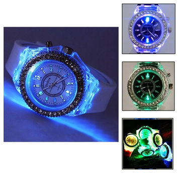 Luminous watch Korean fashion personality lovers jelly form for men and women love = 1929843460