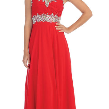 Starbox USA L6079 Jeweled Ruched Bodice Red Strapless Chiffon A-Line Dress