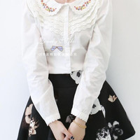 Multi-flower embroidery lace doll collar shirt