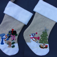 Snowman Family Boy and Girl Christmas Stockings
