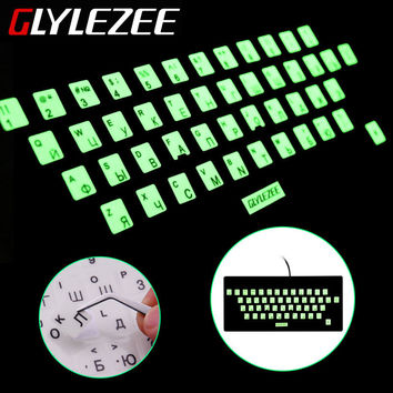 Glylezee Luminous Waterproof Russain Language Keyboard Stickers Film Layout with Button Letters Alphabet for Computer Keyboard