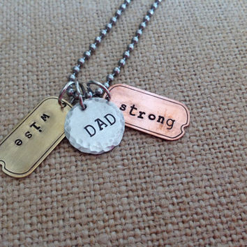 AJC SALE Dad Wise Strong. Tag necklace for men. Men's jewelry. Father grandfather uncle. Father's Day. Gift from kids. Kids name necklace fo