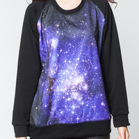 Galaxy Sweatshirt Cosmic Blue Star Cluster Black Sweater Women Shirts Long Sleeve Tshirt Jersey T-Shirt Unisex Size M L