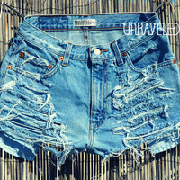 Denim Jean Shorts SMALL by UnraveledClothing on Etsy