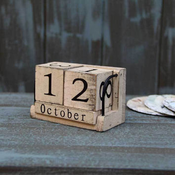 AIBEI-Wood Calendar Zakka Furnishing Articles Manually Small Desk Vintage Calendar Household Daily free Shipping Log Crafts Wood