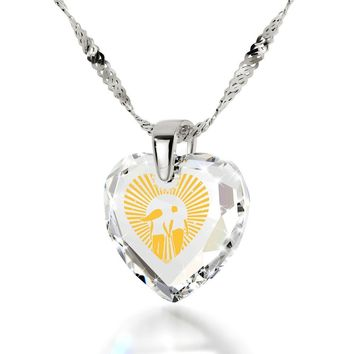 """I Love You to the Moon and Back"", 925 Sterling Silver Necklace, Cubic Zirconia"