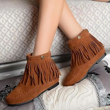 Womes boots Fashion Women Flat Fringed Faux Suede Ankle Boots Booties Oxfords Shaft He