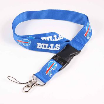 USA Football Buffalo Bills Neck Strap Lanyard Safety Breakaway For Mobile Phone USB Holder ID Name Badge Holder Keys Metal Clip
