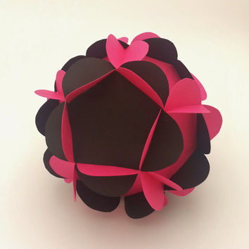 Medium Handmade Paper Flower 3-D Ball, Hanging or Table Decor for Weddings and Parties, Kissing Ball