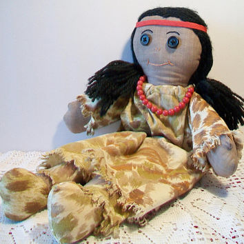 Vintage Native American Indian Rag Doll Cloth Toy Handmade