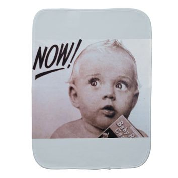 """Now Mum"" Vintage Art Baby Burb Cloth"