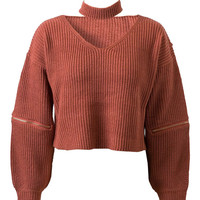Brick Red V-neck Zipper Detail Choker Knit Jumper