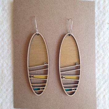 Laser cut wooden earrings - painted gold, yellow, teal accents - long oval