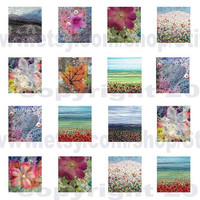 "0.75"" x 0.83"" tiles digital collage sheet instant download fabric art by Jackie Chadwick"